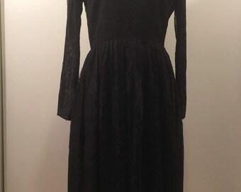 Vintage 1950's Black Lace Dress