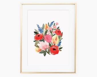Warm Summer Watercolor Floral Print