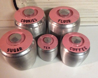 Vintage Kromex Canister Set with Pink Lids (set of 5)