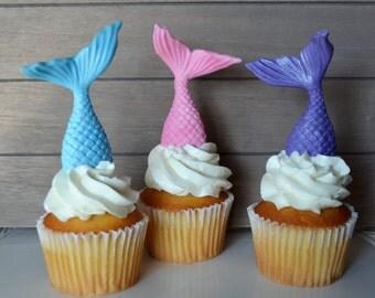 Mermaid cupcake topper, fondant mermaid tail cupcake topper, under the sea topper, mermaid cake topper