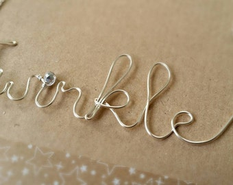 Twinkle/Sparkle/Jingle Wire Wrapped Necklace. Ideal Christmas Gift, Stocking Filler