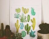 Original Cacti Dry-point & Watercolour Print