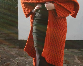 Rust Honeycomb Long Knitted Coat & Shawl Size M