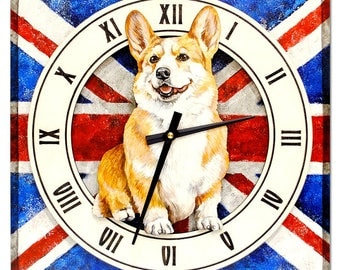 """Wall Clock  """"Welsh Corgi"""",  made of wood, hand-painted with acrylic  paint"""