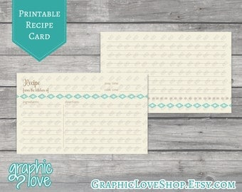 Printable Aztec Teal 3x5 Double Sided Recipe Card | Digital JPG Files, Instant Dowload
