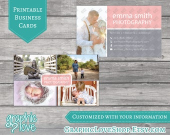 Printable, Personalized Double Sided Modern Photography Business Cards with Photos | JPG, PNG, & PDF Files
