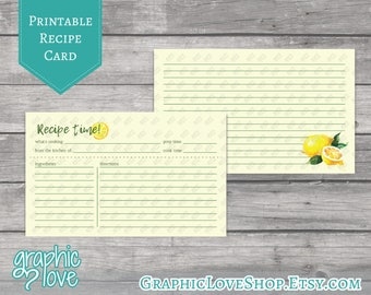 Printable Watercolor Lemon 3x5 Double Sided Recipe Card | Digital JPG Files, Instant Dowload