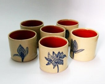 Ceramic Stoneware Tumblers- Red and Blue set of 6