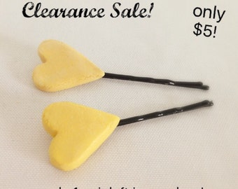 Yellow Heart Hair Pins - 2, Heart Hair Clips, Yellow Hair Clips, Heart Hair Pins, Flower Girl Hair Clips, Bridesmaid Hair Clips