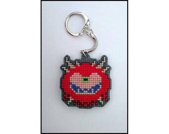 Doom Cacodemon Video Game Cross Stitch Keychain Keyring