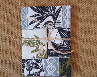 Handmade fabric covered journal, Hawaiian tropical petroglyph print 4.5 in by 6.5 in