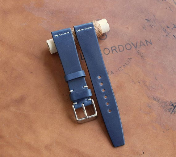 18/16mm Blue Tuscany Shell Cordovan watch band - simple middle stitch