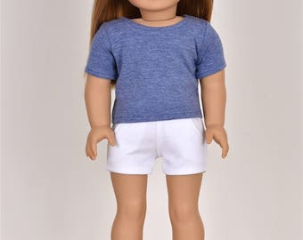 Basic Top short sleeve Dark Heather Blue 18 inch doll clothes