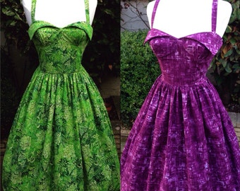 Wing Bust Dress with full gathered skirt and pockets. Beautiful vibrant batik fabric.