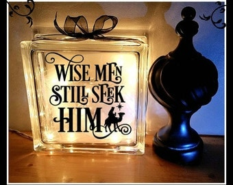 Christmas Glass Block, Wise men seek him, Night Light, Glass Block, Christmas Gift, Winter Wonderland, 8 x 8 Glass Block, Christ, Christmas