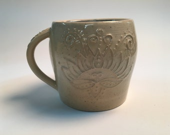 Lotus mug, slip trailed, pottery, handmade