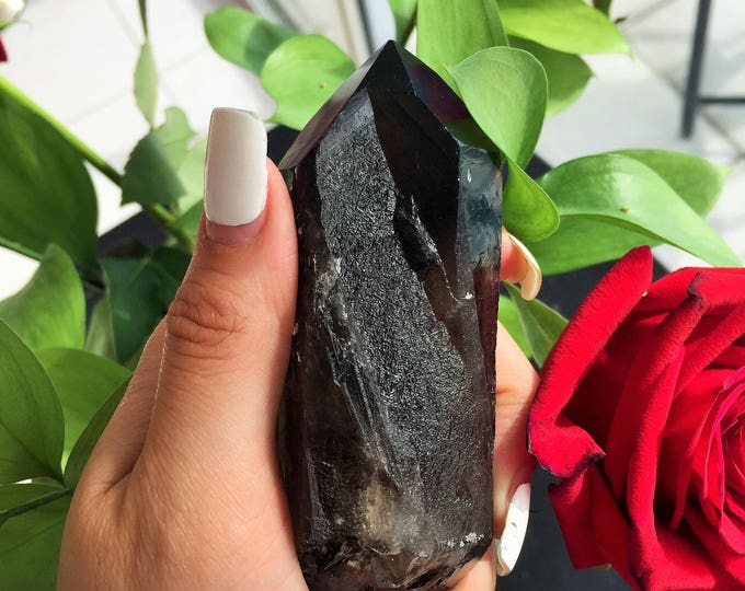 Morion / Smoky Quartz Point infused w/ Reiki/Chakra Healing, Meditation