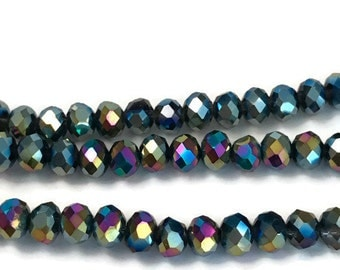 95 3x4mm Mardi Gras Beads, iridescent faceted glass beads, Suncatcher Beads, Spacer Bead, rondelle beads, R49