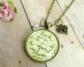 Thank You For Raising the Man Of My Dreams Mother Of The Groom Necklace Wedding Gift Future Mother In Law Jewelry Grooms Parents Gift Mom
