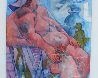 Figural Abstract Expressionist Painting By Ted Powers.