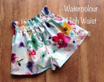 Girls Shorts High Waisted Size 4 Watercolour Floral
