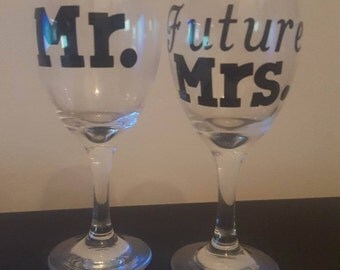 Engagement announcement wine glasses