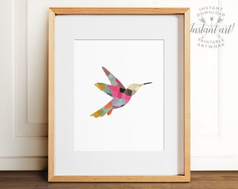 Mosaic hummingbird PRINTABLE art,abstract wall art,colorful wall art,nursery printable,bird silhouette art,hummingbird art,printable decor