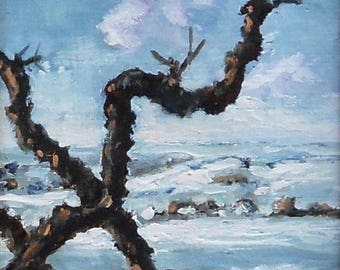 """Winter Trees, original oil painting, 5 X 7"""" on a traditional chalk gesso panel"""