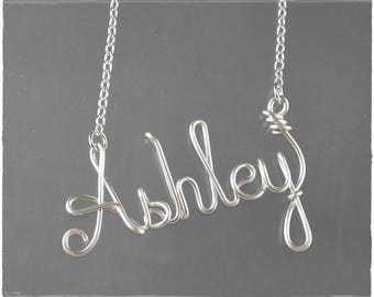 Ashley Wire Word Name Pendant Necklace