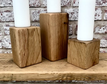 Rustic solid oak candle blocks