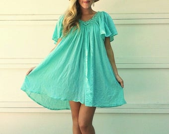 Vintage 70s Gauze Mint Mini Dress