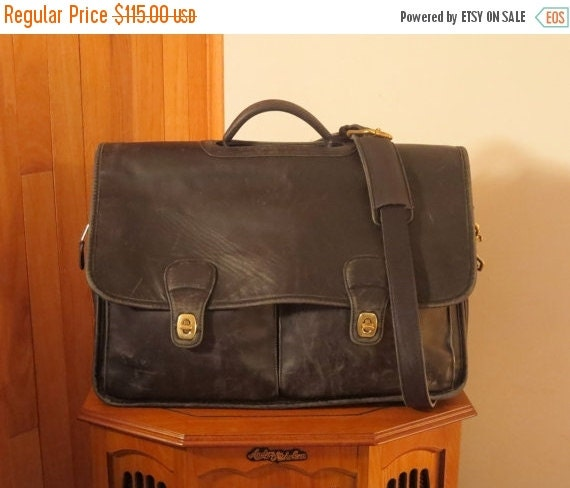 Football Days Sale Coach Organizer Briefcase Attache Laptop IPad Case - Black Leather With Brass Hardware- Very Large- Somewhat Distressed