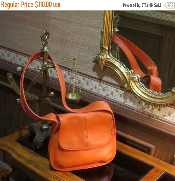 Football Days Sale Coach Ergo Flap Tangerine Leather Shoulder Bag Style No. 9034- Made In U.S.A. Very Unique