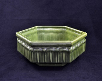 Vintage Haeger Planter, Hexagon Ceramic Planter With Green Glaze