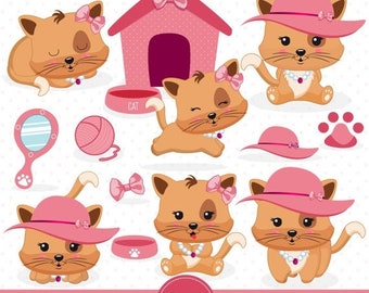 80% OFF SALE Pink Christmas kittie clipart Pink kitten