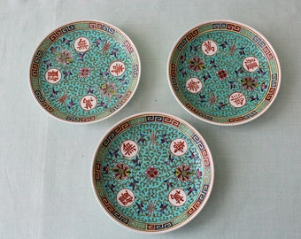 Chinese Porcelain Turquoise Saucers Set of Three