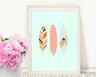 Aqua Feather Art Print, Printable Art, Feather Art, Tribal, Aqua Feather Print, Wall Art, Instant  Download, Wall  Decor, Home Decor