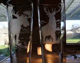 elk on pilsner glass  or  moose on pilsner glass sold separaetly