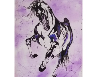 Stallion, painting on silk, beauty, power, speed, batik wall hanging.