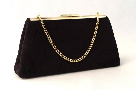 Black Suede Handbag Black Suede Clutch Small Black Evening