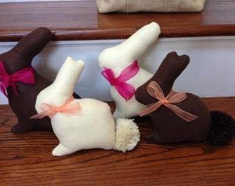 "Felt White/Dark ""Chocolate"" Bunnies"
