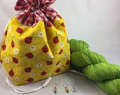 Ladybug Gift Set includes: Project bag, Platinum Sock in GRANNY SMITH colorway, 3 stitch markers