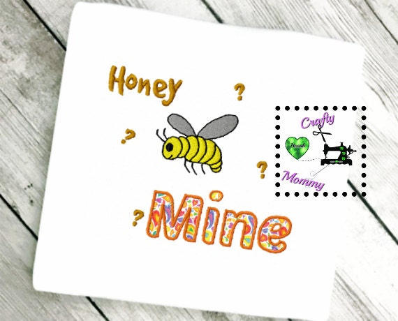 Bee applique valentine s day embroidery honey