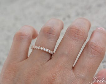 Full Rose Gold Eternity Band Ring. 2MM Cz Eternity Ring. Sterling Silver Rose Gold Plated Wedding Band. Rose Gold Stacking Rings.