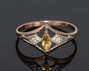 Citrine ring, Gold ring, Rose gold ring, Geometric ring, Modern ring, Unique ring, Everyday ring, Gemstone ring, Birthstone ring