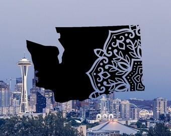 Washington Decal, Washington Decals, Washington State Decals, Mandala Decal, State Mandala Decal, Washington Roots, Vinyl Decals for Car