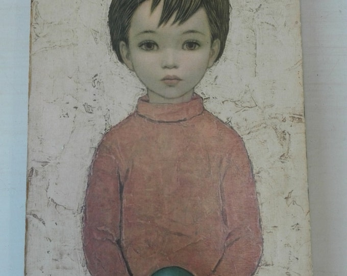 Vintage seventies wallhanger- Boy with ball