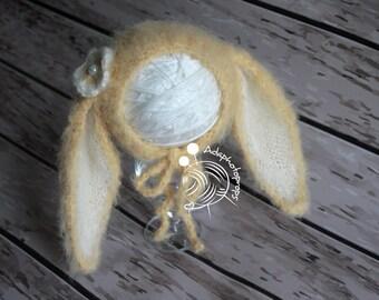Newborn bunny bonnet,Alpaca,Photography props,Photo props, Easter props,Newborn props,Knitted bonnet,Knits,Hand knitted props,Alpaca