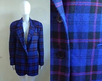 40%offAug18-21 wool blend plaid blazer size large 12, blue-purple red black, 80s tartan blazer, 1980s retro womens jacket, womens blazer
