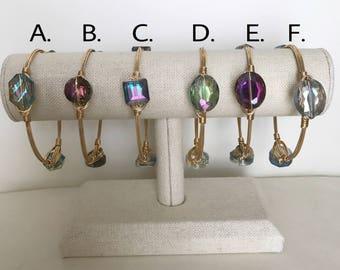 SALE, Crystal Wire bangles, Size Large, Wire bracelets